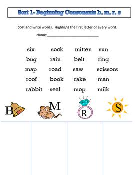 Words Their Way (WTW) alphabetic spellers Sort 1