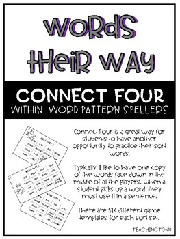 Words Their Way - Within Word Pattern Spellers Connect Four