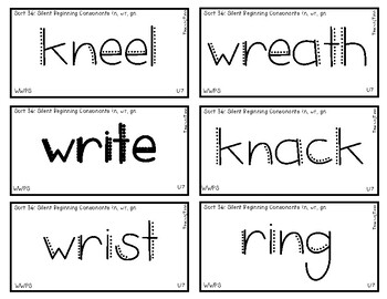 Words Their Way - WWPS Sort Words Unit 7