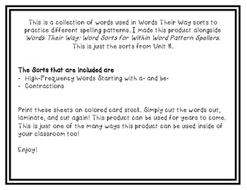 Words Their Way - WWPS Sort Words Unit 8