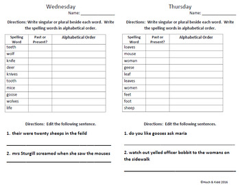 Words Their Way Weekly Homework Sheets-Syllables & Affixes-Lessons-10-11