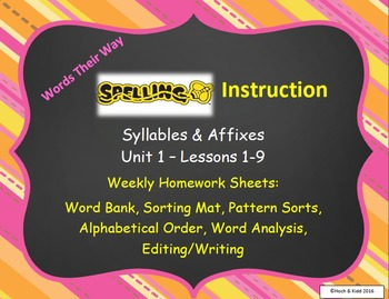 Words Their Way Weekly Homework Sheets-Syllables & Affixes-Unit 1 - Lessons 1-9