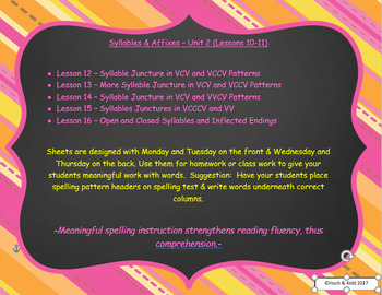 Words Their Way Weekly Homework Sheets-Syllables & Affixes-Unit 3-Lessons 12-16