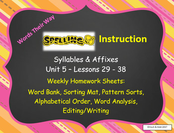 Words Their Way Weekly Homework Sheets-Syllables & Affixes-Unit 5-Lessons 29-38