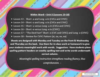 Words Their Way Weekly Homework Sheets - Within Word - Lessons 13-18
