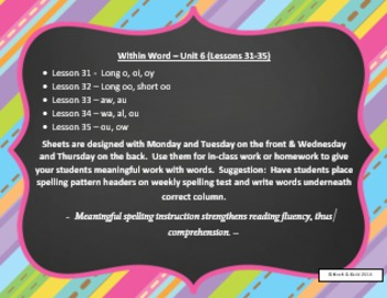 Words Their Way Weekly Homework Sheets - Within Word - Lessons - 31-35