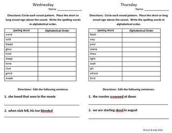 Words Their Way Weekly Homework Sheets - Within Word - Lessons - 36-42