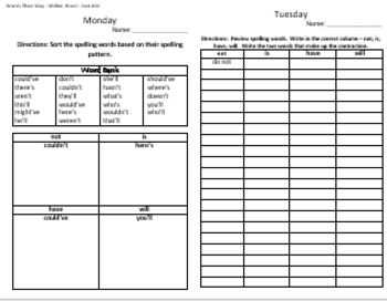 words their way weekly homework sheets within word lessons 43 44