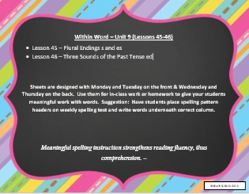 Words Their Way Weekly Homework Sheets - Within Word - Lessons - 45-46