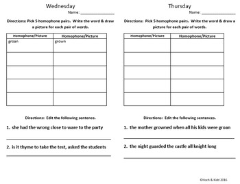 Words Their Way Weekly Homework Sheets - Within Word - Lessons - 47-50