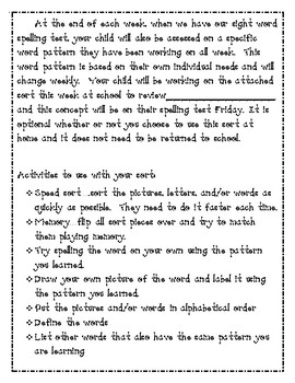 Words Their Way Weekly Parent Letter