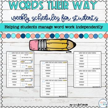 Words Their Way Weekly Tasks Schedules (Editable)