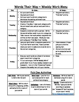Words Their Way Weekly Work Menu