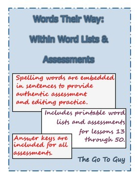 Words Their Way: Within Word Assessments (in Context) and Word Lists