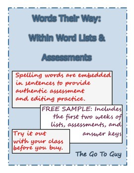 Words Their Way:  Within Word Assessments and Word Lists (Two Weeks Free)