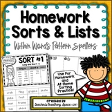 Words Their Way --- Within Word Pattern Homework Sorts & Lists