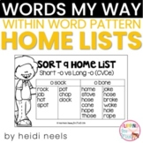 Words My Way Within Word Pattern Spellers Home Lists