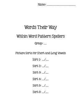 Words Their Way - Within Word Pattern Spellers - Sorts 1-6 {sort book}