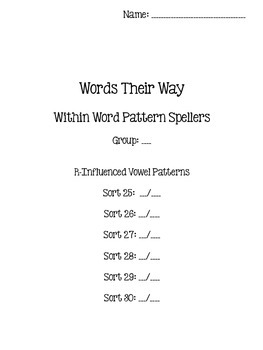 Words Their Way - Within Word Pattern Spellers - Sorts 25-30 {sort book}