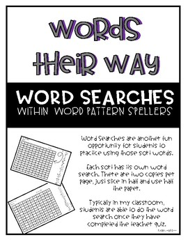 Words Their Way - Within Word Pattern Spellers Word Searches