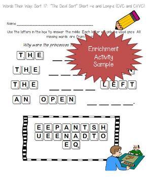 Words Their Way: Within Word Patterns Scramble Fun: Sort 21