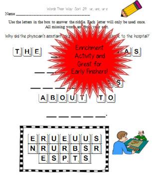 Words Their Way: Within Word Patterns Scramble Fun: Sort 29