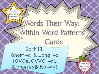 Words Their Way: Within Word Patterns: Sort 19: Short –a & long –a