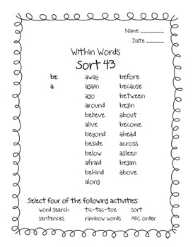 Words Their Way Within Words BUNDLE