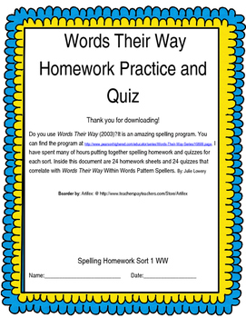 Words Their Way Within Words Homework and Quizzes Sorts 1-24 (2003)