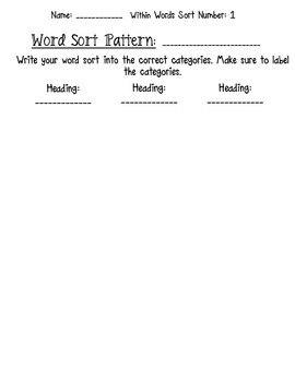 Words Their Way Within Words Word Sort Packets