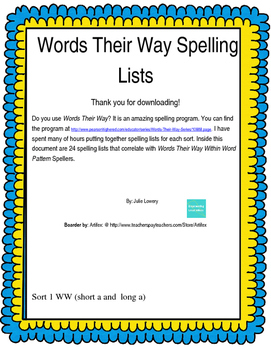 Words Their Way Within Words Spelling Words Sort 1-24 (2003)