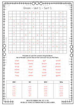 Words Their Way - Word Search & Word Sort - Red, Yellow, Green, Blue
