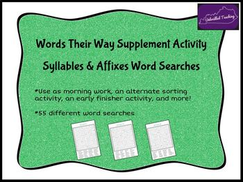 Words Their Way Word Searches - Syllables and Affixes Sorts