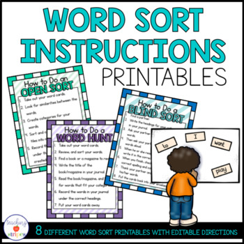 Words Their Way Word Sort Instruction Posters by Teaching in Stripes
