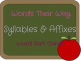 Words Their Way Word Sort List 1 Syllables & Affixes