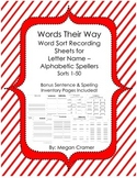 Words Their Way Word Sort Recording Sheets, Sentence & Spelling Inventory Pages