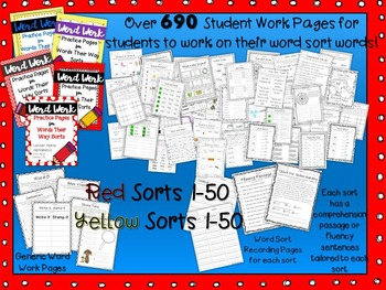Words Their Way Word Work Practice Pages RED and YELLOW Books BUNDLE