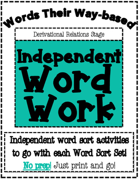 Words Their Way based Independent Word Work-Derivational Relations Stage
