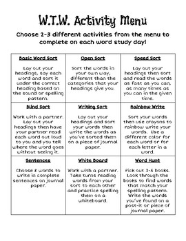 Words Their Way menu