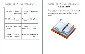 Words Their Way or Spelling Activities