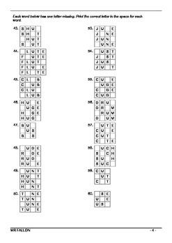 Words Their Way workbook - Within word pattern sort 10 (Short U vs Long U)
