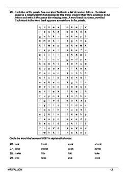 Words Their Way workbook - Within word pattern sort 12 (Final K, CK, KE)
