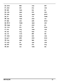 Words Their Way workbook - Within word pattern sort 11 (Short/Long Vowel Review)