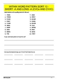 Words Their Way workbook - Within word pattern sort 13 (Short/Long A CVCe)
