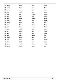 Words Their Way workbook - Within word pattern sort 28 (OR, ORE, OAR W+R)