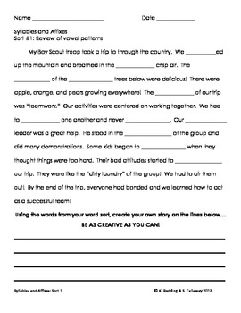 Words Their Way:Syllable & Affixes  Sort 01: Cloze word hunt