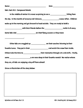 Words Their Way:Syllables and Affixes Sort 12: Cloze Word Hunt