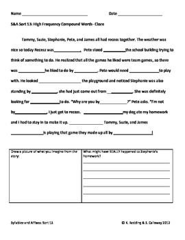Words Their Way:Syllables and Affixes Sort 13: Cloze Word Hunt
