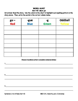 Words Their Way:Syllables and Affixes Sort 40: Word Hunt