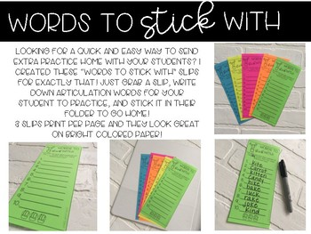 Words To Stick With- Articulation Homework Slips